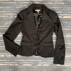 BCBGeneration Solid Black Tuxedo Collar Blazer